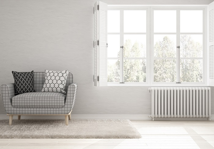 Minimalist living room, simple white living with big window, scandinavian classic interior design
